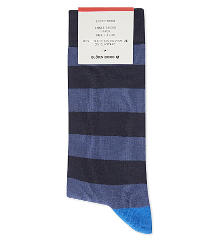 BJORN BORG Stripe cotton-blend ankle socks (Blues
