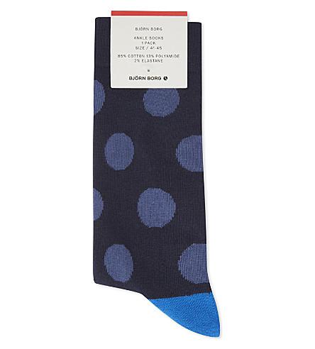 BJORN BORG Contrast polka dot cotton-blend socks (Blues