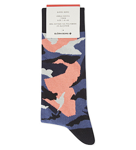 BJORN BORG Camouflage cotton-blend socks (Blue+coral
