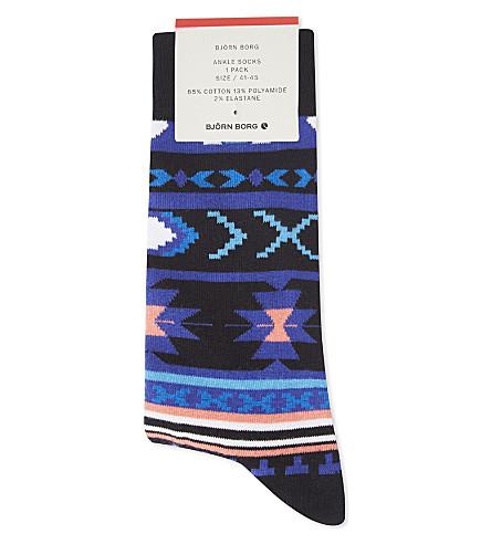 BJORN BORG Novajo cotton-blend ankle socks (Blue+coral