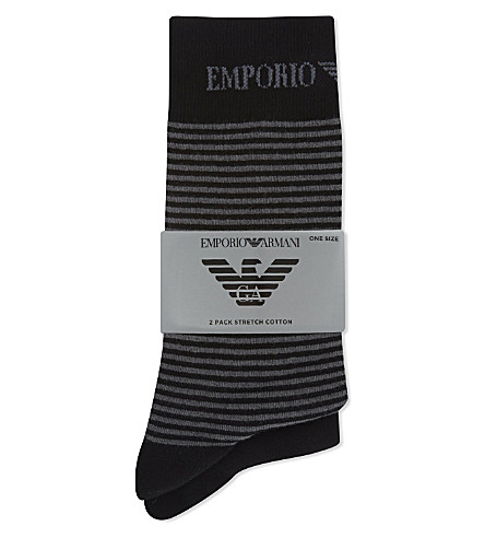 EMPORIO ARMANI Plain and striped socks 2-pack (Black