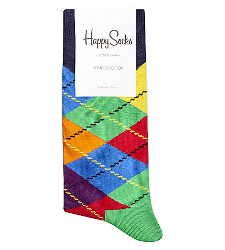 HAPPY SOCKS Argyle cotton socks (Red+multi