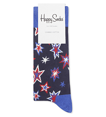 HAPPY SOCKS Star cotton-blend socks (Navy+blue