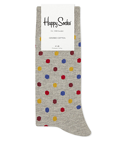 HAPPY SOCKS Polka dot cotton-blend socks (Grey