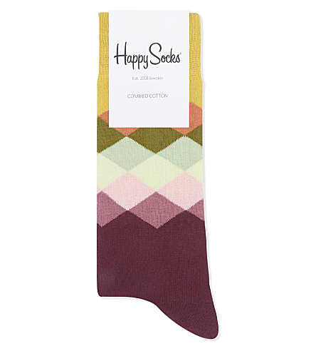 HAPPY SOCKS Diamond cotton-blend socks (Aubergine+multi