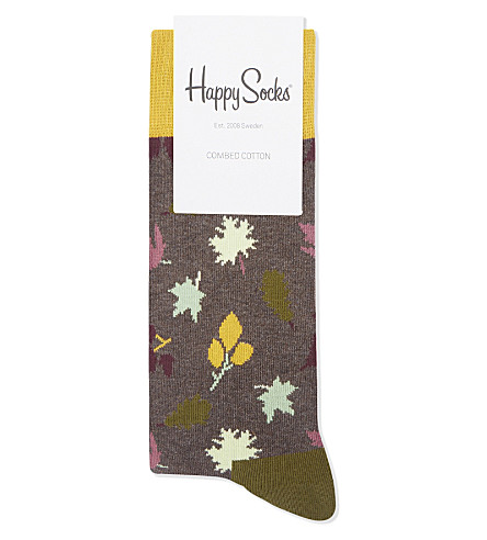 HAPPY SOCKS Autum leaf print cotton socks (Grey+grn