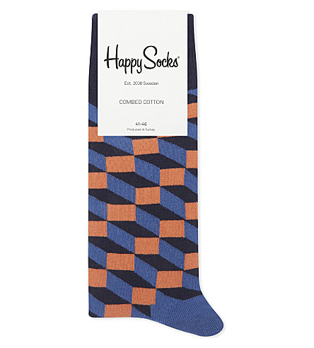 HAPPY SOCKS Filled optic cotton-blend socks (Navy+orng