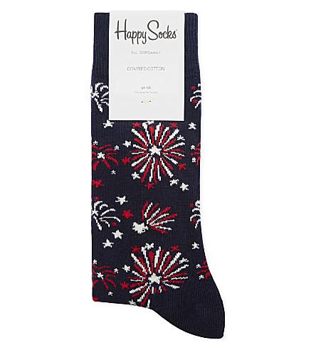 HAPPY SOCKS Firework print cotton-blend socks (Navy multi