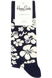 HAPPY SOCKS Hawaiian flower print socks
