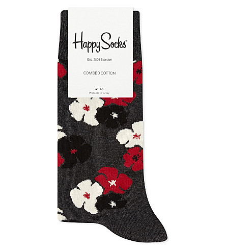 HAPPY SOCKS Bold floral cotton-blend socks (Grey