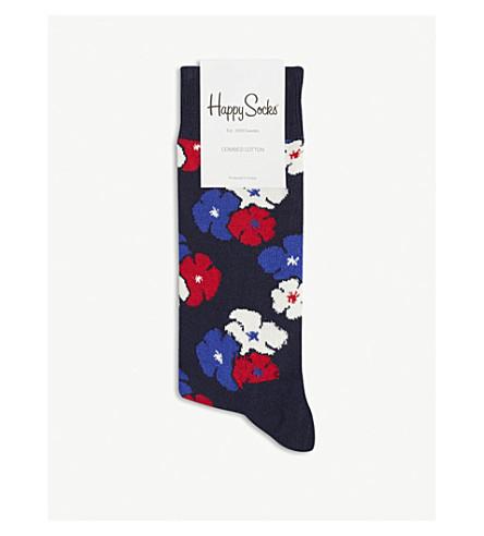 HAPPY SOCKS Bold floral cotton-blend socks (Navy