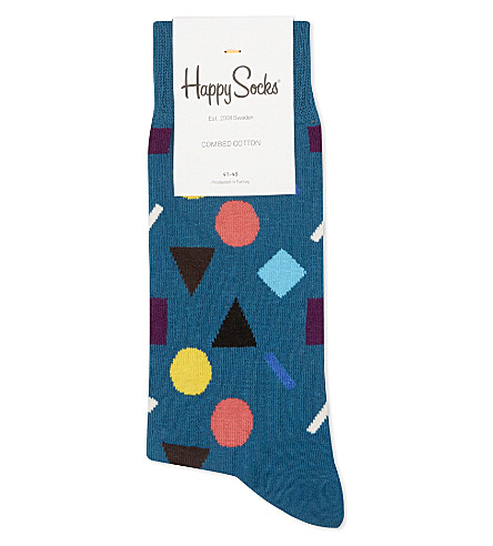 HAPPY SOCKS Geometric shape socks (Teal+multi