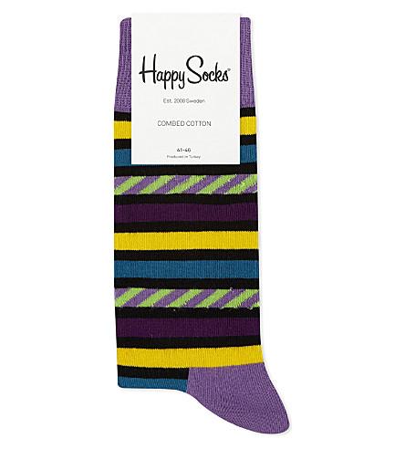 HAPPY SOCKS Multi-stripe cotton-blend socks (Purple+multi