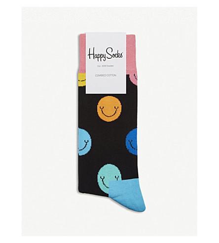 HAPPY SOCKS Smiley face cotton-blend socks (Navy+multi