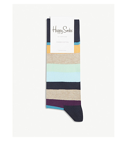 HAPPY SOCKS Striped cotton-blend socks (Navy+blues