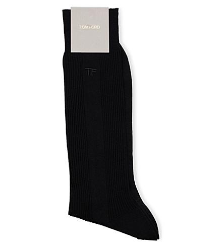 TOM FORD Fine rib cotton socks (Black