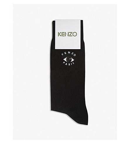 KENZO Evil eye-embroidered stretch-cotton socks (Black