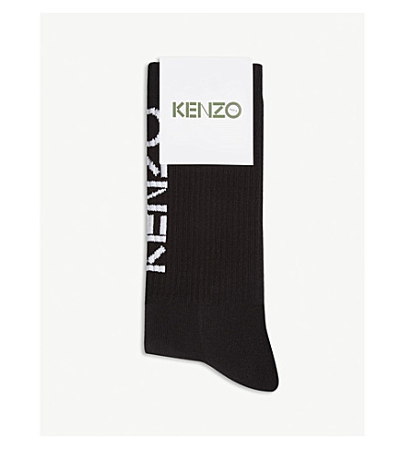 KENZO Logo cotton-blend sport socks (Black