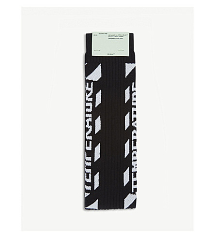OFF-WHITE C/O VIRGIL ABLOH Temperature cotton-blend crew socks (Black+white