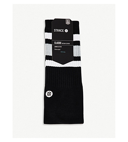 STANCE Classic Crew Solid Stripe combed cotton socks (Black+white