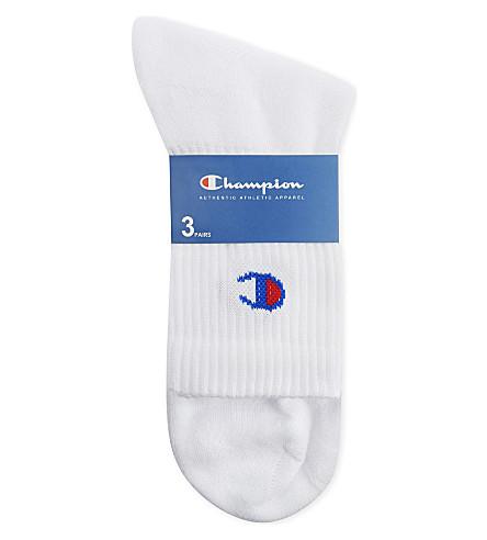 CHAMPION Logo cotton crew socks 3-pack (White
