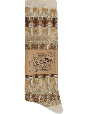 ANONYMOUSISM Textured multi pattern socks