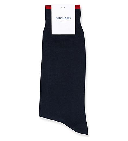 DUCHAMP Logo-detail cotton-blend socks (Navy