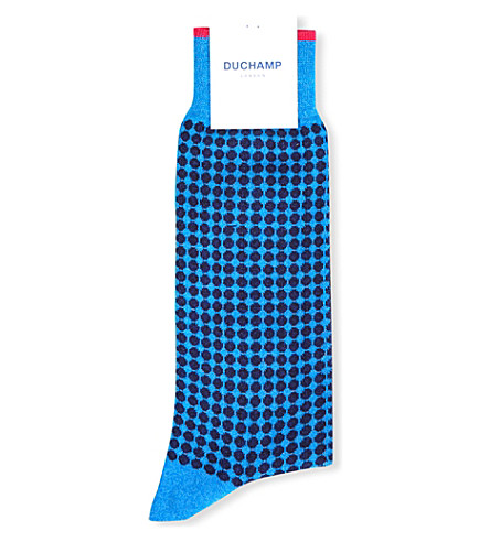 DUCHAMP Spotted cotton-blend socks (Blue