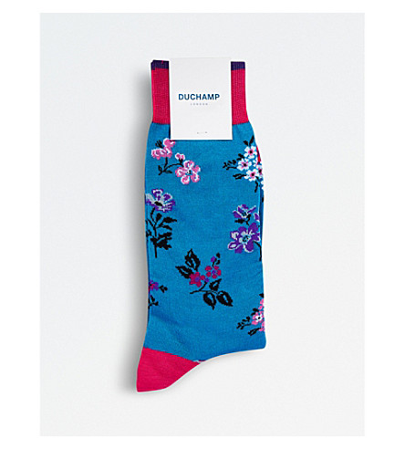 DUCHAMP Sparse Floral socks (Mid+blue