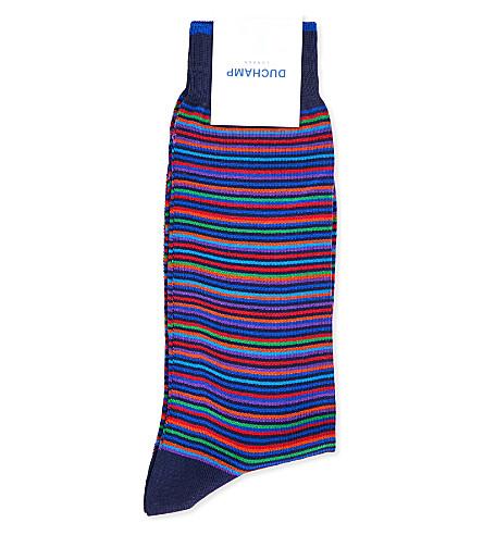 DUCHAMP Platinum striped cotton-blend socks (Navy+multi