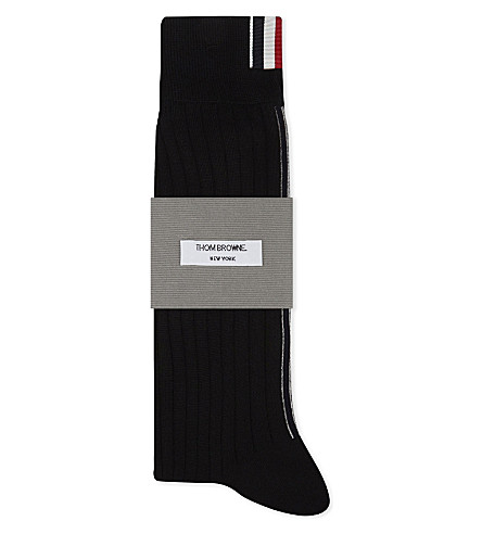 THOM BROWNE Vertical stripe merino-wool socks (Black