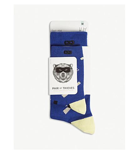 一对小偷上升 & ShineDad + 儿童棉混纺袜子包两个 (蓝色/黄色