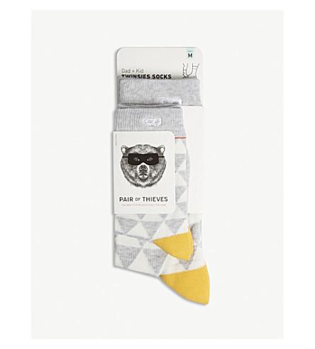 一对小偷对不起苏珊娜爸爸 + 孩子棉混纺袜子包两个 (灰色/白色/黄色
