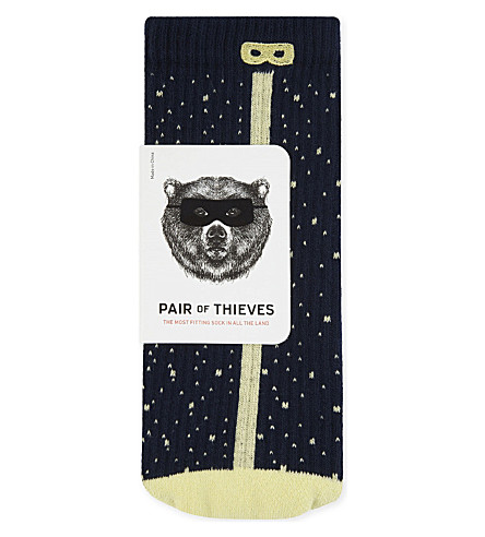 PAIR OF THIEVES Spotted rib performance socks (Nvy+ylw