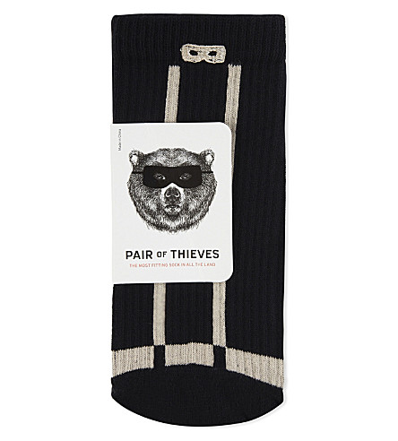 PAIR OF THIEVES Striped rib sports socks (Blk+gry