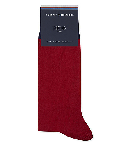 TOMMY HILFIGER 图标棉混纺袜 2-包 (海军 + 红色 + 灰色