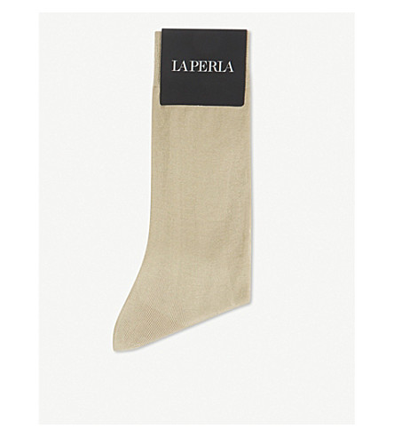 LA PERLA Fil d'ecosse cotton socks (Beige