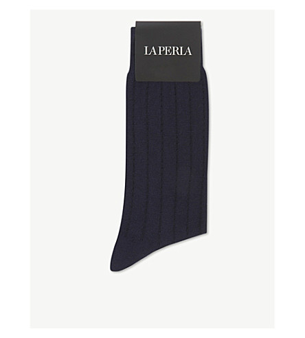LA PERLA Striped wool and cashmere socks (Blue
