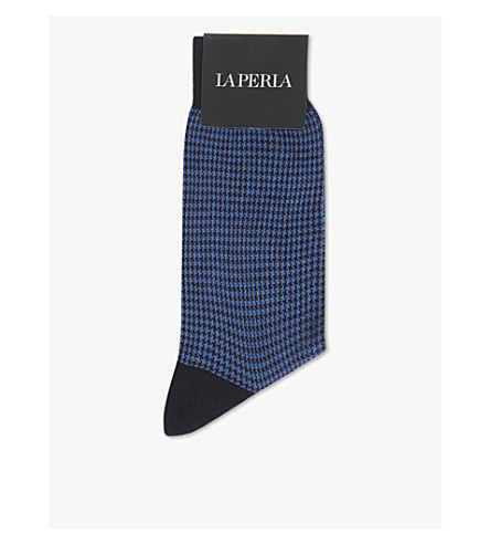 LA PERLA Puppytooth wool and cotton socks (Blue