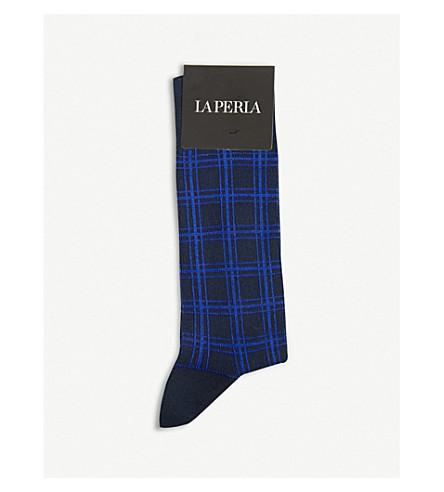 LA PERLA 格子棉袜 (蓝色