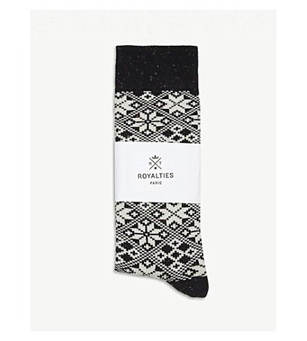 白杨棉混纺短袜 (黑色
