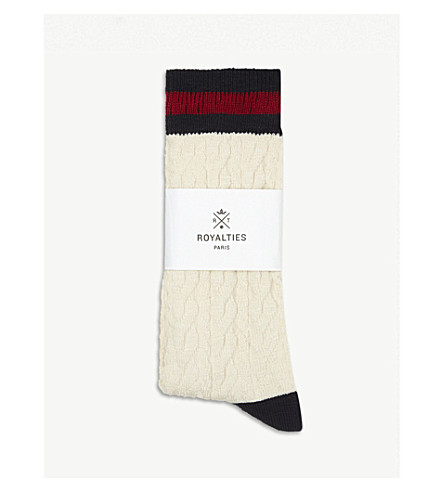 ROYALTIES Torsades cable knit socks (Ivory