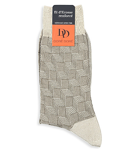 DORE DORE Fil d'Ecoss Renforcé basketweave socks (Beige