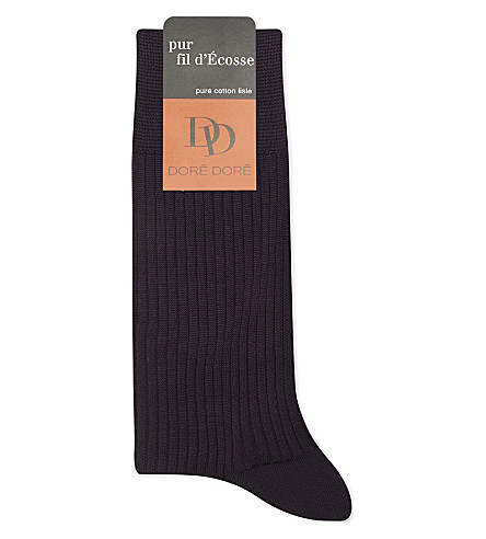 DORE DORE Ribbed cotton knit sock (Aub