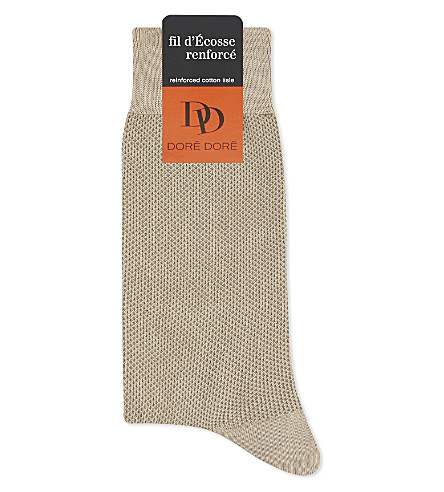 DORE DORE Pin dot cotton-blend medium length socks (Beige