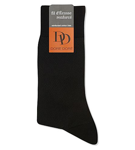 DORE DORE Birdseye cotton socks (Blk+grey
