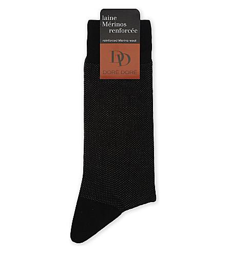 DORE DORE Birdseye wool-blend socks (Blk