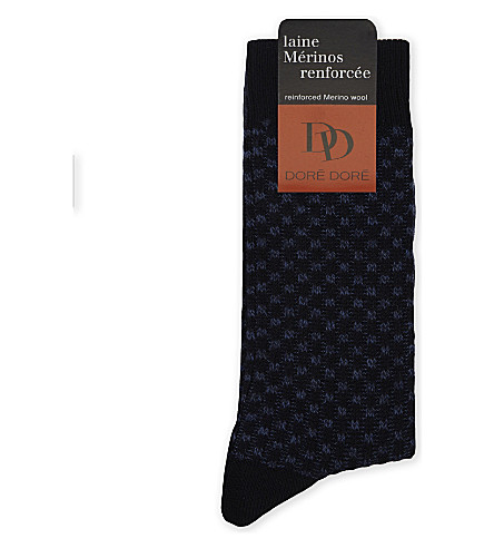 DORE DORE Ribbed checkerboard wool-blend socks (Blue+navy