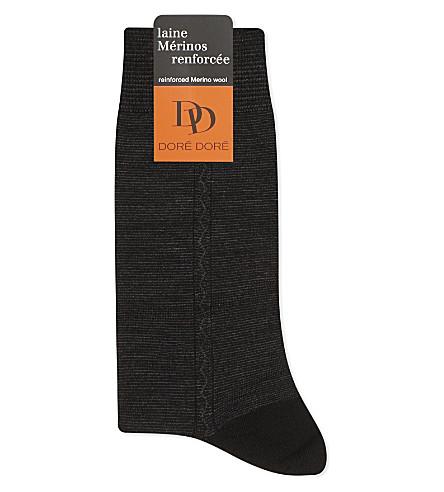 DORE DORE Zigzag trim wool socks (Blk+grey