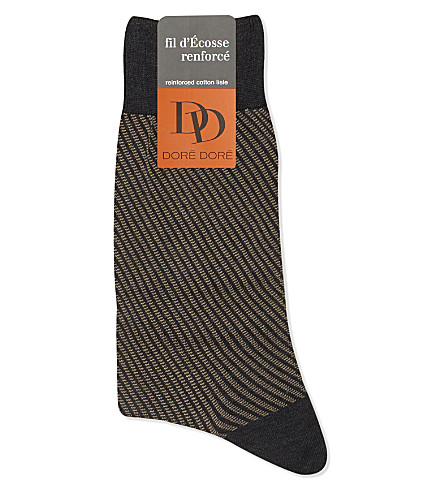 DORE DORE Diagonal striped cotton socks (Grey+beige